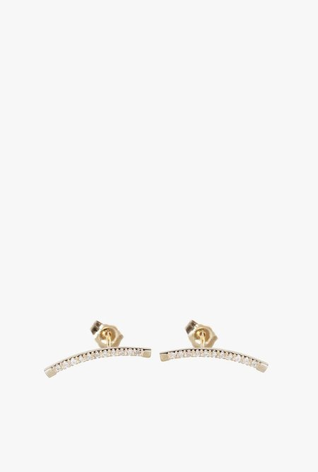 Loren Stewart White Diamond Arc Pin Earrings - 14k Gold
