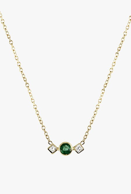 Lumo Emerald with Square Side Diamond NECKLACE - 14k Gold