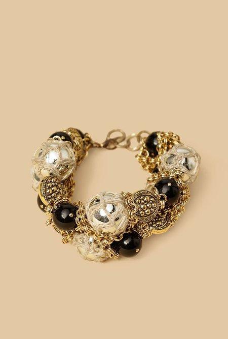 Nicole Romano Hand Woven Bead Cluster Bracelet - Gold Texture
