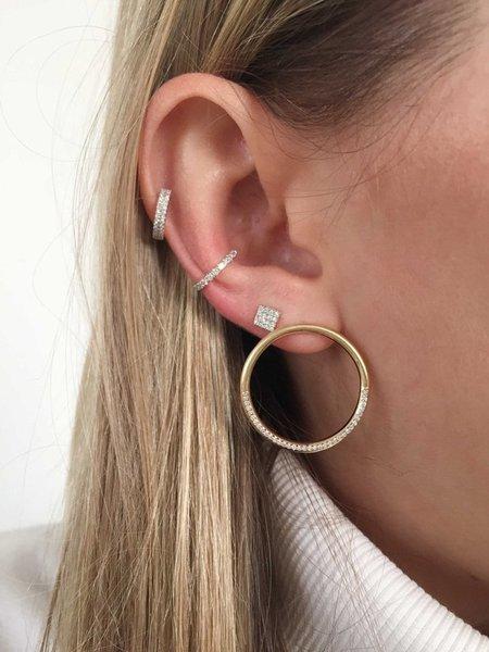 Eriness White Diamond Loop Earrings - 14k Rose Gold