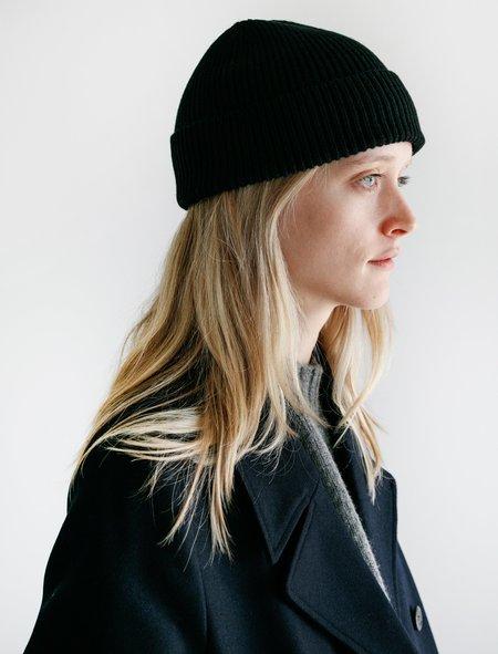 Unisex Margaret Howell AW18 Merino Cashmere Fine Rib Hat - Black