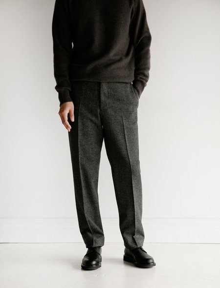 Margaret Howell Dry Puppytooth Wool Narrow Trouser - Charcoal