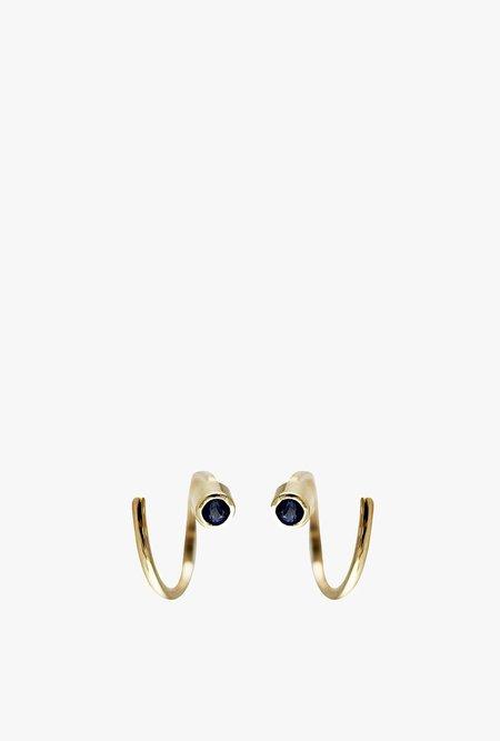 Lumo Spiral Sapphire Tiny Hoop Earrings - 14k Gold