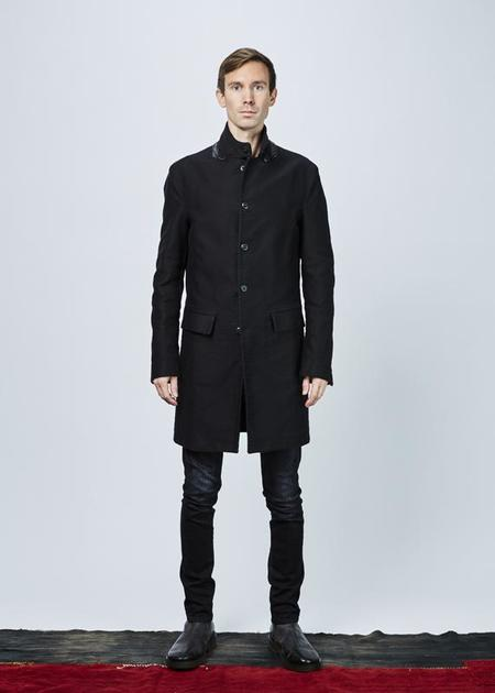 Hannes Roether Zig Elbow-Patch Coat - BLACK