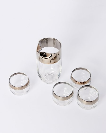 Covet + Lou Vintage Silver Rimmed Cocktail Set
