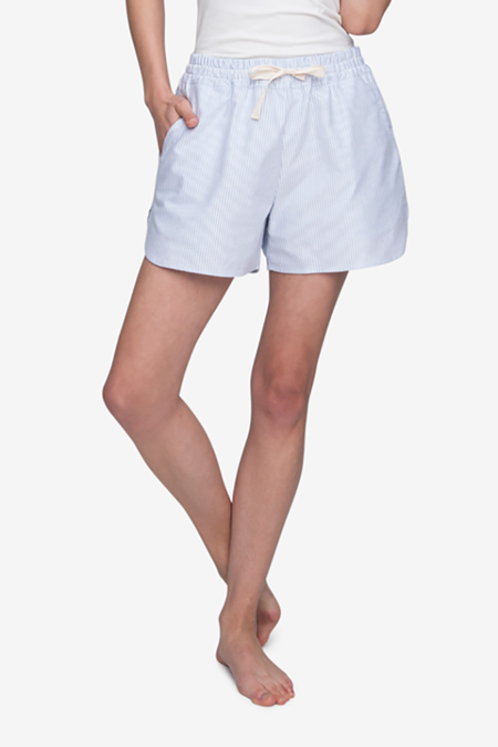 The Sleep Shirt Curved Hem Short - Blue Oxford Stripe
