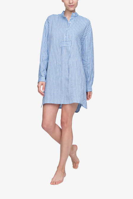 The Sleep Shirt Short Linen Sleep Shirt - Double Blue Stripe