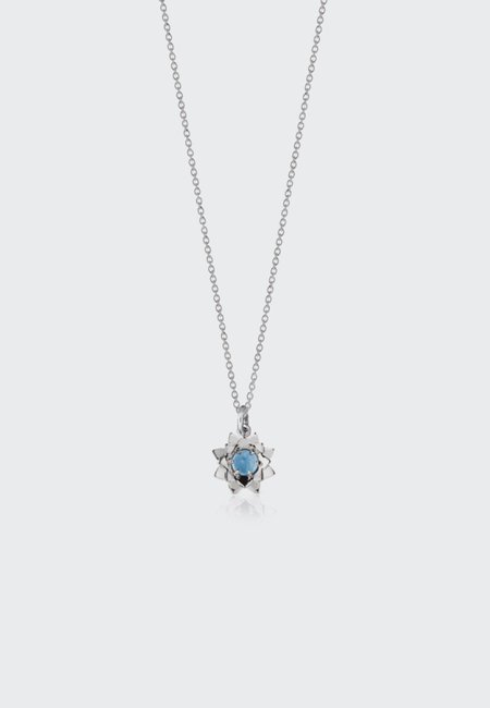 Meadowlark Protea Charm Necklace with Stone - Silver/Blue Topaz
