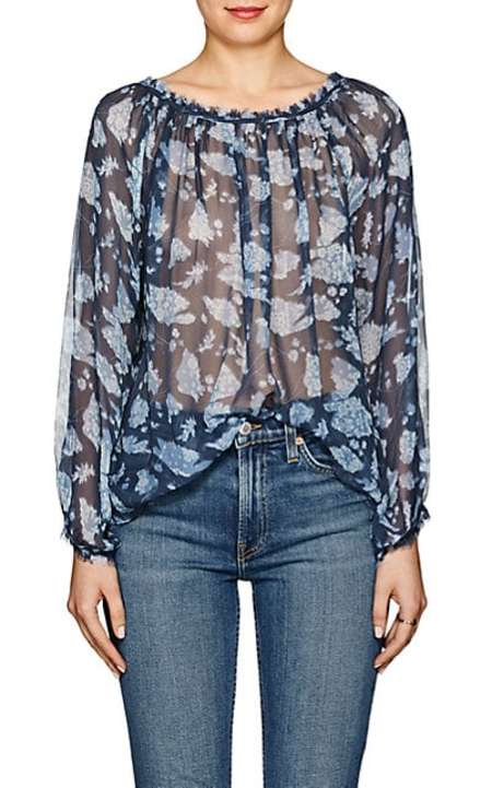 Raquel Allegra silk raw hem blouse - floral