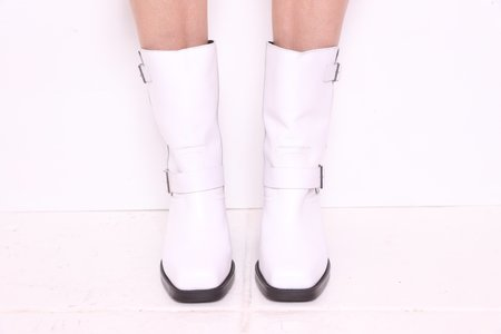 """INTENTIONALLY __________."" DETROIT Biker Boot - White"