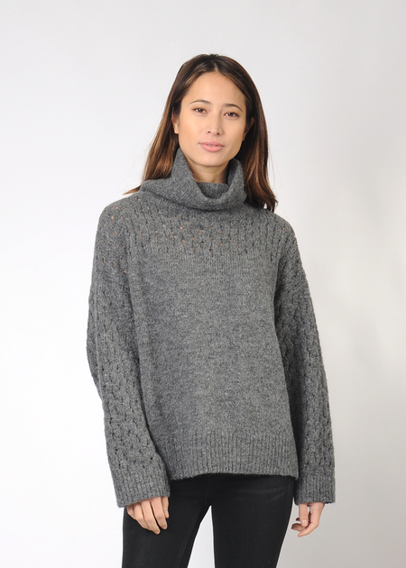 Wolhide Lace Sleeve Turtleneck - charcoal