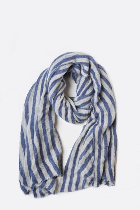 Botto Giuseppe Thick Striped Stole - Blue/Cream