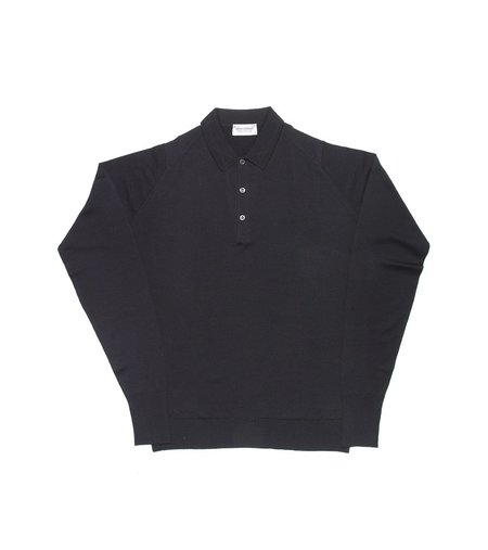 Freemans Sporting Club John Smedley Cotswold Long Sleeve Polo - Black