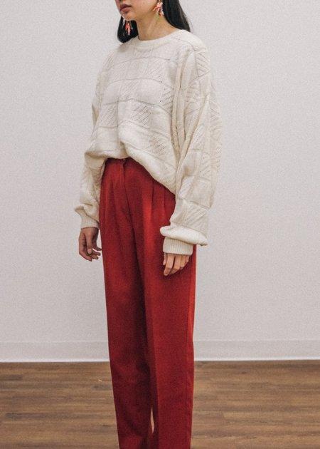 Pre by New Classics Vintage Knit Crewneck Sweater - Cream
