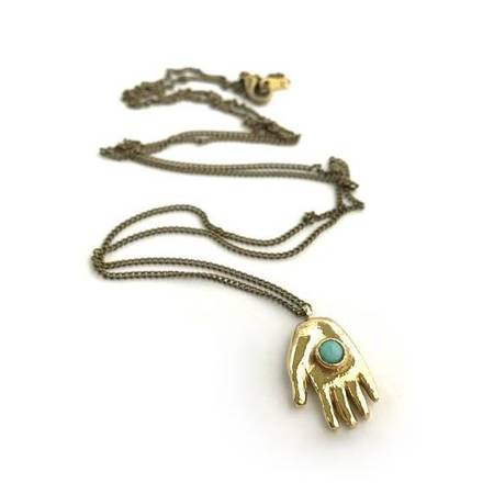 Therese Kuempel Giver Necklace With Turquoise - Brass