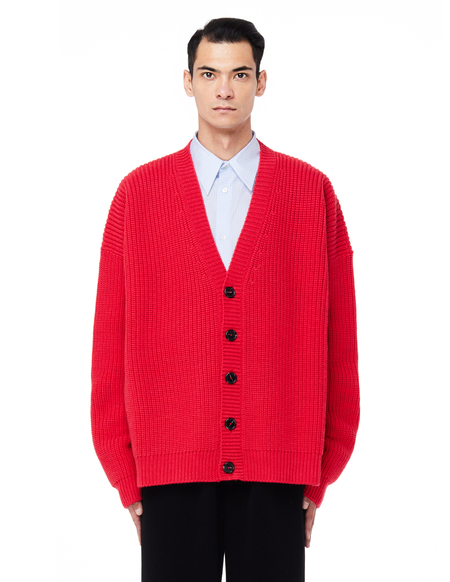 Raf Simons Wool Cardigan with Leather Patches