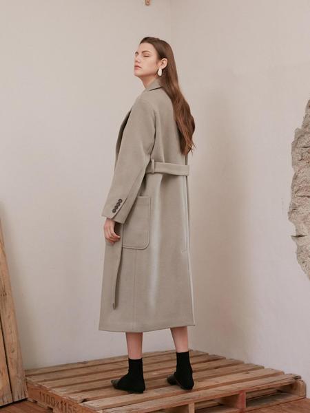 ATRE Belted Double Coat - Mocha Gray