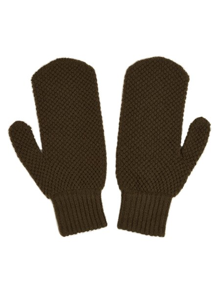 JO GORDON MOSS STITCH MITTENS - MILITARY