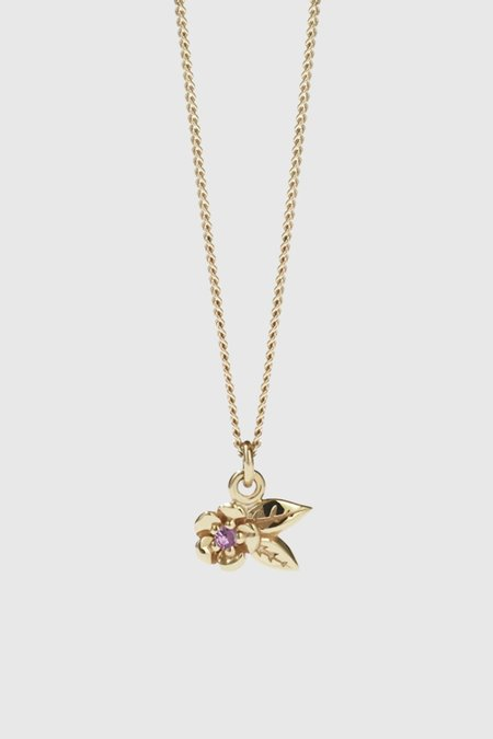 Meadowlark Alba Charm Necklace Stone Set - Gold Plated/Pink Sapphire
