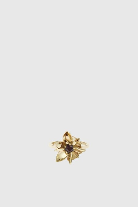 Meadowlark Wildflower Ring Stone Set - Gold Plated/Thai Garnet