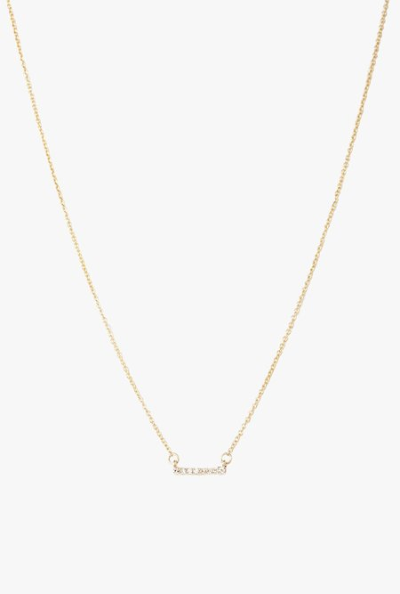 Blair Lauren Brown White Diamond Pave Mini Bar Necklace - 14k Gold