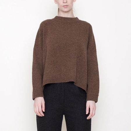 7115 by Szeki Classic Crewneck Wool Sweater - Toffee Brown