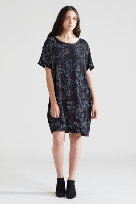 North Of West Flowers Tee Dress - Black
