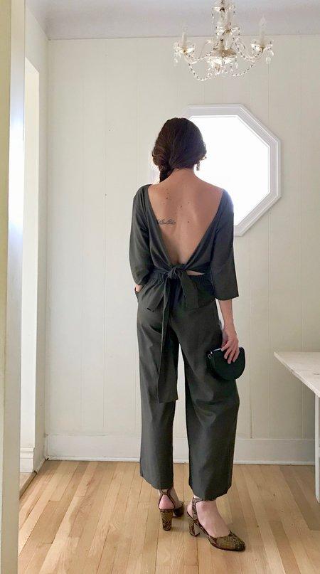 Ozma Atelier Silk Noil Jumpsuit - Pine