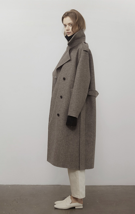 AMONG Herringbone WOOL COAT - CHARCOAL
