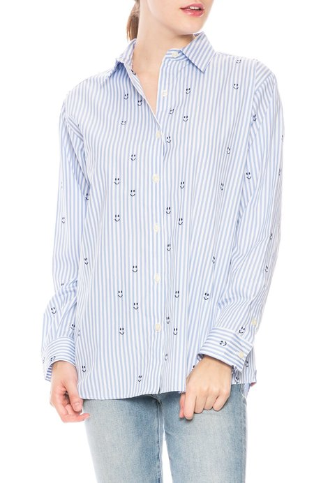 Kule Hutton Embroidered Smiley Face Shirt - Stripe