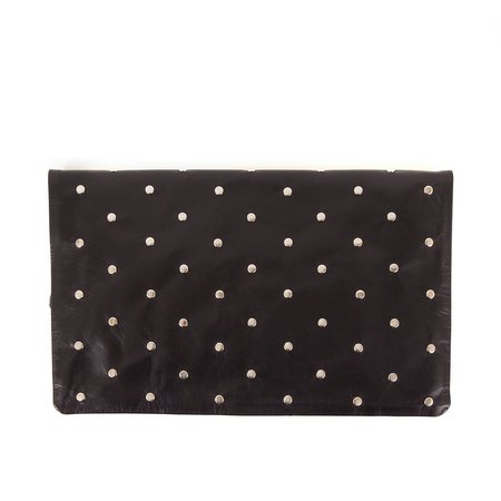 Clare V. With Studs Fold-over Clutch - BLACK