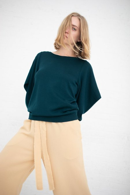 Veronique Leroy Knitted Sweater with Triangle Sleeves - Forest Green