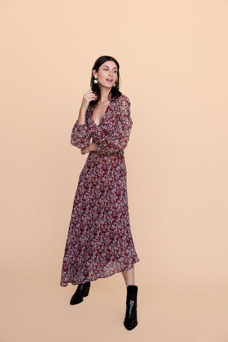 BETWEEN TEN Natasha Dress - Merlot Floral