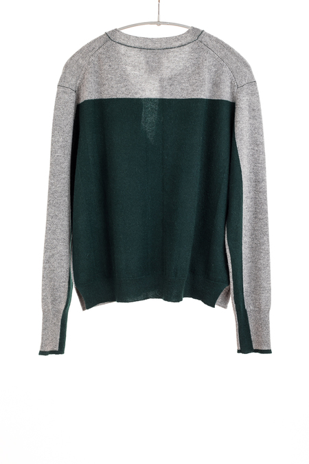 Paychi Guh Cashmere Crew Cardigan - Flannel/Forest