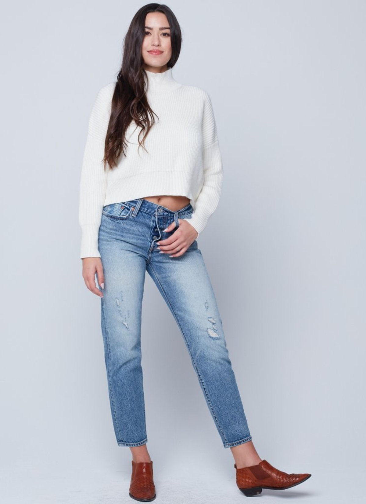 7fc47791134ed6 Knot Sisters Libby Mock-Neck Sweater