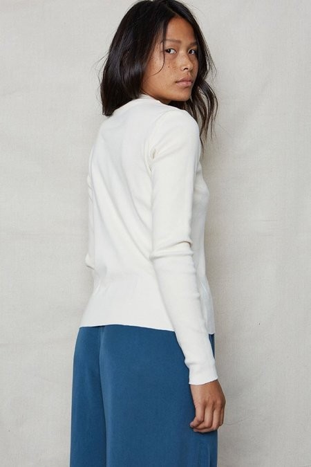 back beat rags Mock Neck Rib L/S - Ivory