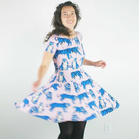 Nooworks Cha Cha Dress - Blue Tiger Print