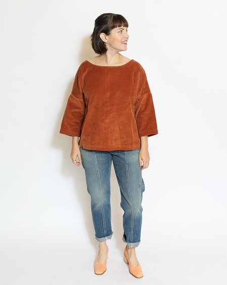 Sugar Candy Mountain Gwen Top - Burnt Sienna Corduroy