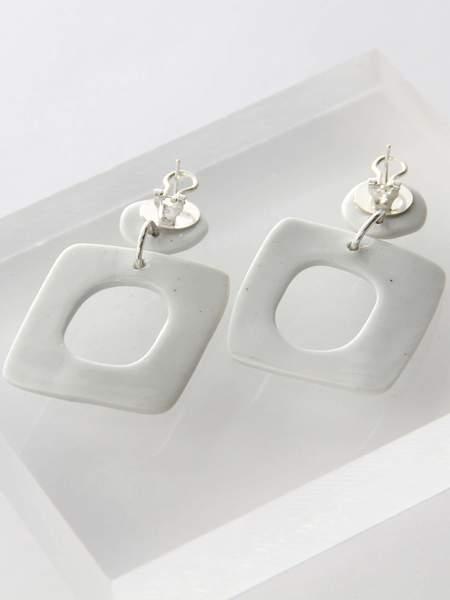 Levens XL Square Earrings - White