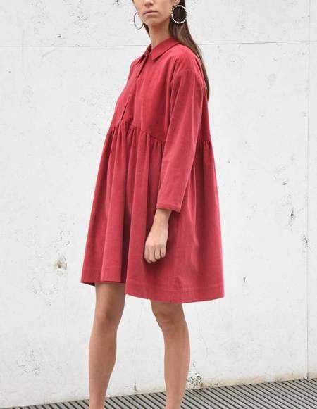 Asciari Milano Corduroy Dress - Raspberry