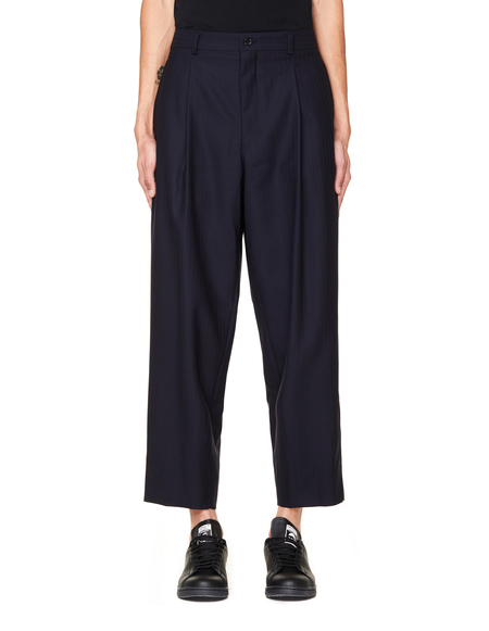 Comme des Garcons Homme Plus Striped Wool Trousers - Navy Blue