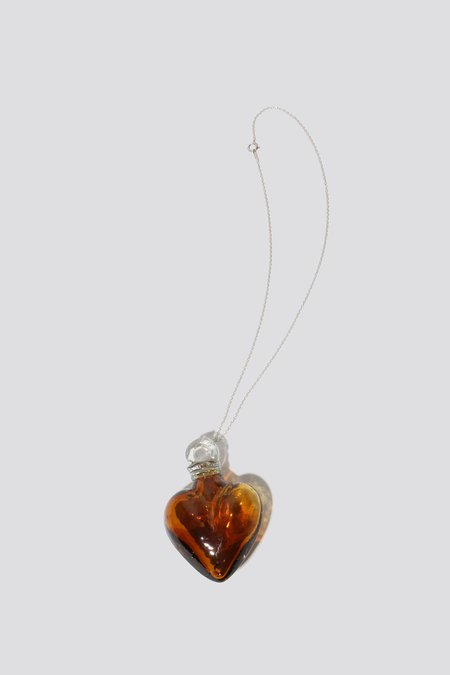Alexa De La Cruz Smoked Glass Heart Necklace - Bronze