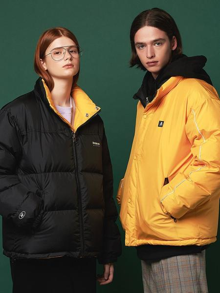 Unisex ANOTHER FRAME Puffy Reversible Down Jacket - Black/Yellow