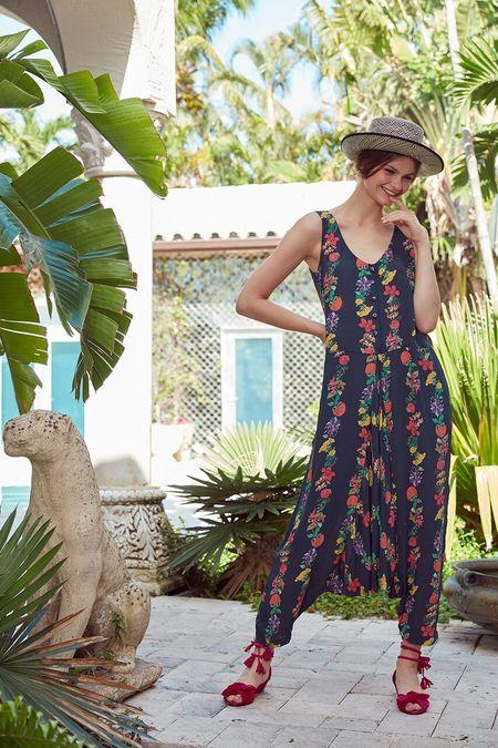 Carolina K Annabelle Jumpsuit - Flower Stripe Black