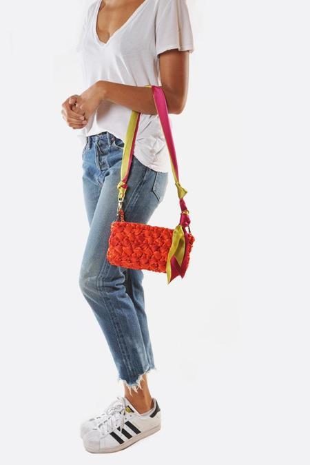 Lorenza Gandaglia Foulard Combo Ribbon Clutch with Chain Strap - Multicolor