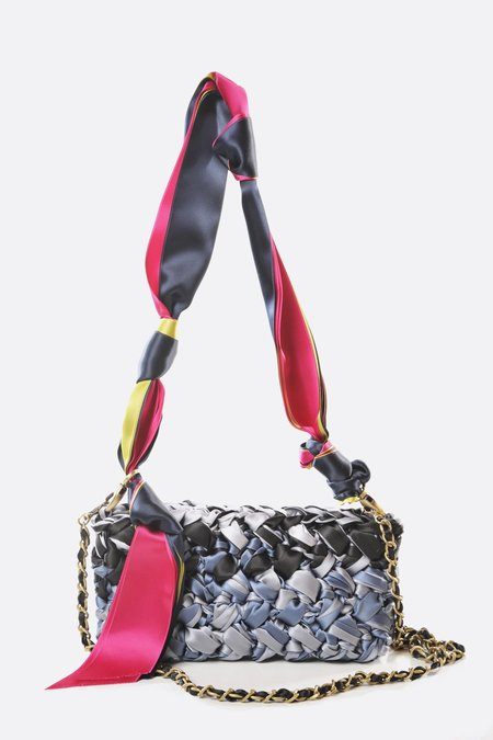 Lorenza Gandaglia Ribbon Clutch with Dual Straps - Grey/Black Tones