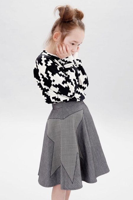 KIDS LITTLE MAN HAPPY Black Star Midi Skirt