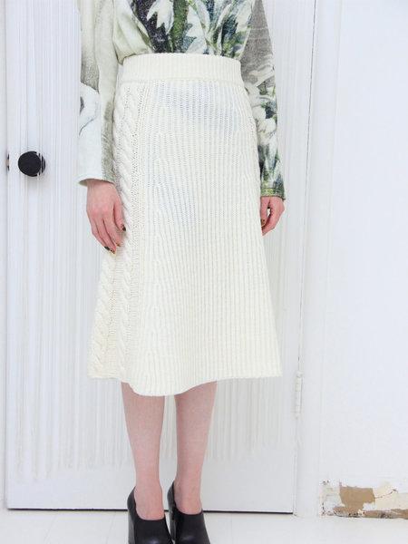 Muller of Yoshiokubo Cable Knit Skirt - Ivory