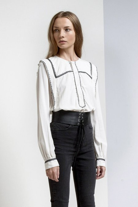 Magali Pascal Cool French Girl Collarless Button Up