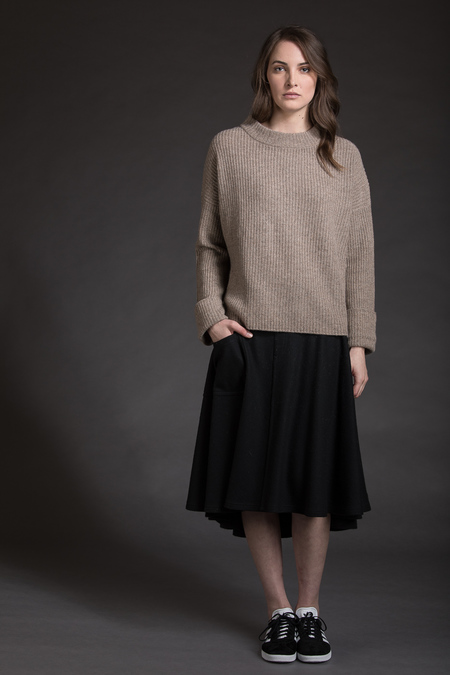 Paychi Guh Cashmere Relaxed Pullover - Chestnut/Oatmeal